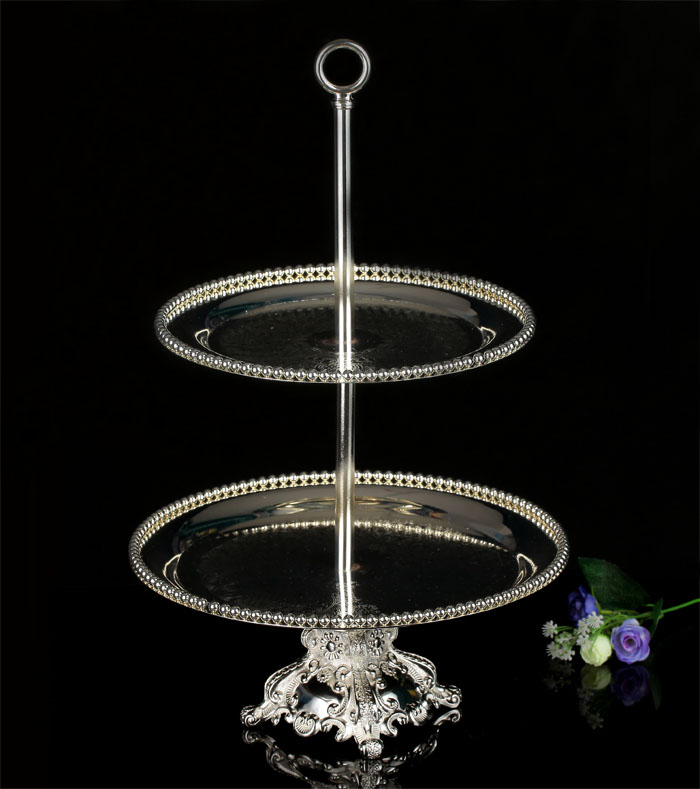 2 Tier Silver Plated Buffet Cake Stand Metal Dessert Cupcake Fruit Food Platter Serving Display Stand Wedding EMS Free Shipping-in Stands from Home ... & 2 Tier Silver Plated Buffet Cake Stand Metal Dessert Cupcake Fruit ...
