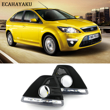 цена на ECAHAYAKU 2pcs Daytime running lights with fog hole for Ford Focus Hatchback 2009 2010 2011 2012 2013 led light 12v fog light
