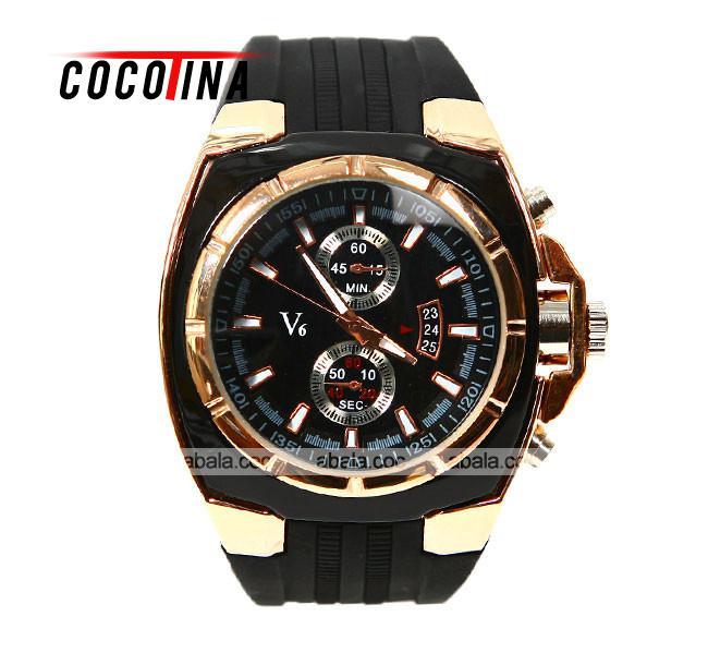 4534bb2c0541 Cocotina noble V6 negro blanco numerales Rubber Band reloj hombre moda  marcas de la hora dial redondo del cuarzo del reloj   L05442