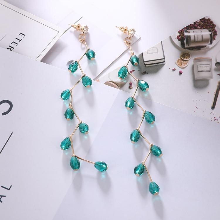229f86a29b US $0.71 30% OFF 2018 New Europe Long Cross Earring Green Rhinestone Drop  Earring For Girls New Year Party Personality Crystal Tassel Earring-in Drop  ...
