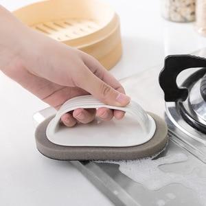 Image 1 - Escova de limpeza Com Alça Cozinha Descontaminação Mágica Esponja Limpa Tigela Pote Escova de Limpeza Limpador de Janelas Do Banheiro Acessórios