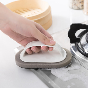 Image 1 - Sauberen Pinsel Mit Griff Magie Schwamm Wischen Küche Dekontamination Schüssel Topf Reinigung Pinsel Windows Reiniger Bad Zubehör
