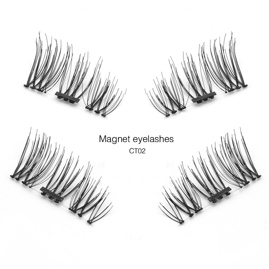 Genailish Magnetic eyelashes handmade false eyelashes 3D 6D magnet lashes comfortable natural with boxes for makeup CT
