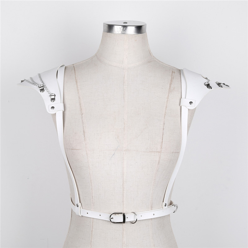 TiaoBug Women Faux Leather Shoulder Pads Harajuku Gothic Punk Adjustable Body Chest Harness Women Sexy Bondage Belts Top Costume