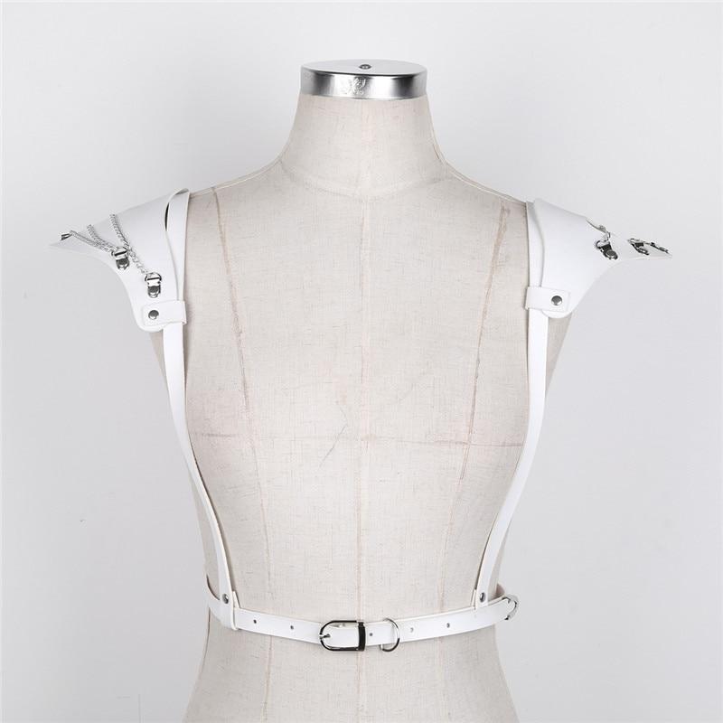 TiaoBug Women Faux Leather Shoulder Pads Harajuku Gothic Punk Adjustable Body Chest Harness Women Sexy Bondage Belts Top Costume