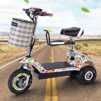 Взрослый Электрический трицикл Citycoco Электрический Скутер Складной с детское сиденье и корзина три колеса 48 В