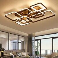 Прямоугольные современные светодио дный светодиодные потолочные светильники для гостиной спальни кабинет plafon белый/коричневый готовое До