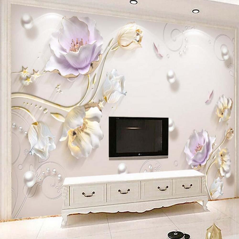3d Embossed Tulip Flower Photo Wallpaper Mural For Living