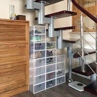 6PCS/Lot Eco Friendly Simple Shoe Storage Box Case Transparent Storage Rectangle Shoe Organizer Thickened drawer Shoe rack