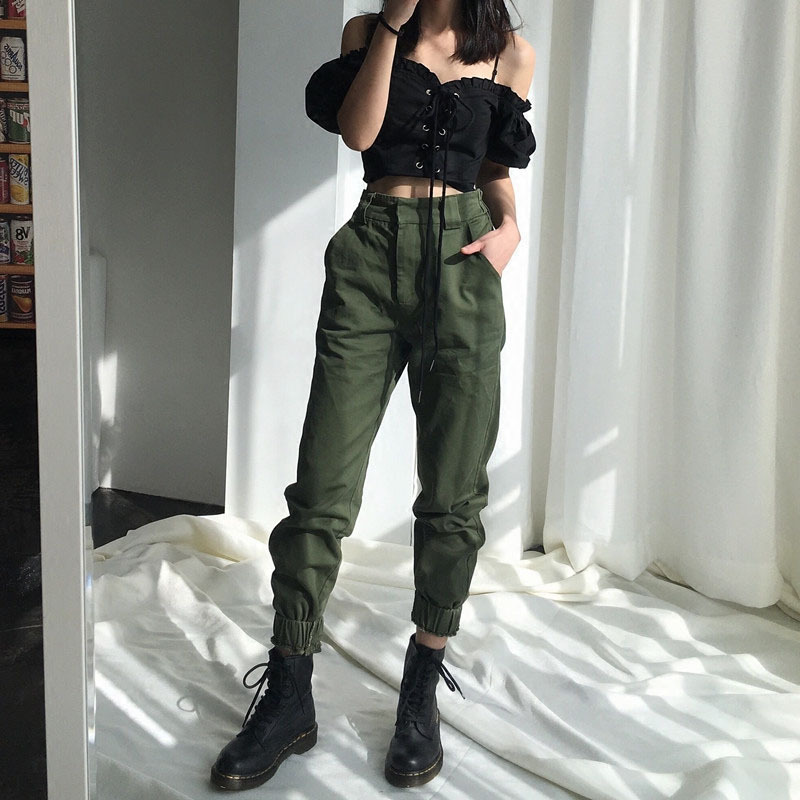 New High waist   pants   loose joggers women army harem camo   pants   streetwear punk black cargo   pants   women   capris   trousers