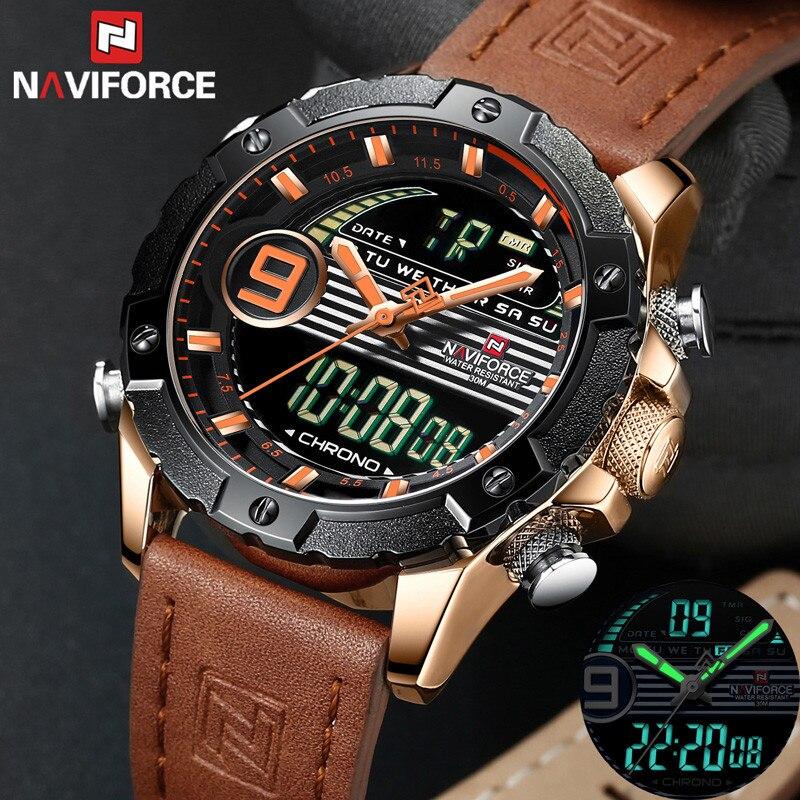 NAVIFORCE Watch Men Top Brand Luxury Digital Analog Sport Wristwatch Military Genuine Leather Male Clock Relogio Masculino 9146