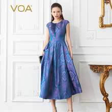 VOA Jacquard Silk Party Dresses Women Long Dress Plus Size 5XL Vintage Elegant Purple Slim High Waist Tunic Summer Luxury A616