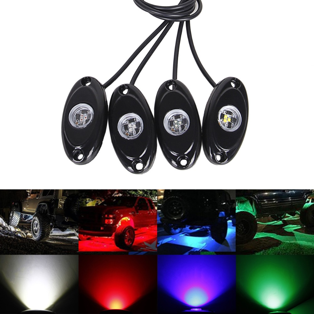 4PCS Car Underglow LED Neon Trail Rig Light Atmosphere Rock Undercar Auto 4x4 Bottom Underbody Decoration Undercar Lamp 12V 24V