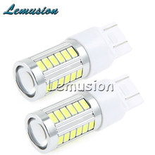 2 pcs Car led T20 W21W 7440 WY21W 33 LED 5630 5730 SMD car Backup Reserve Lights auto brake light fog lamps 12V Accessories(China)