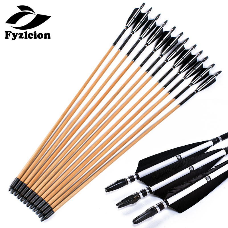 80CM Handmade Wooden Archery Turkey Feather Arrows For Traditional Long Bow