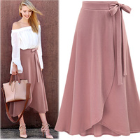 2018 spring summer plus size M 6XL casual A line skirt empire waist bow pink black fashion long skirt irregular women skirt