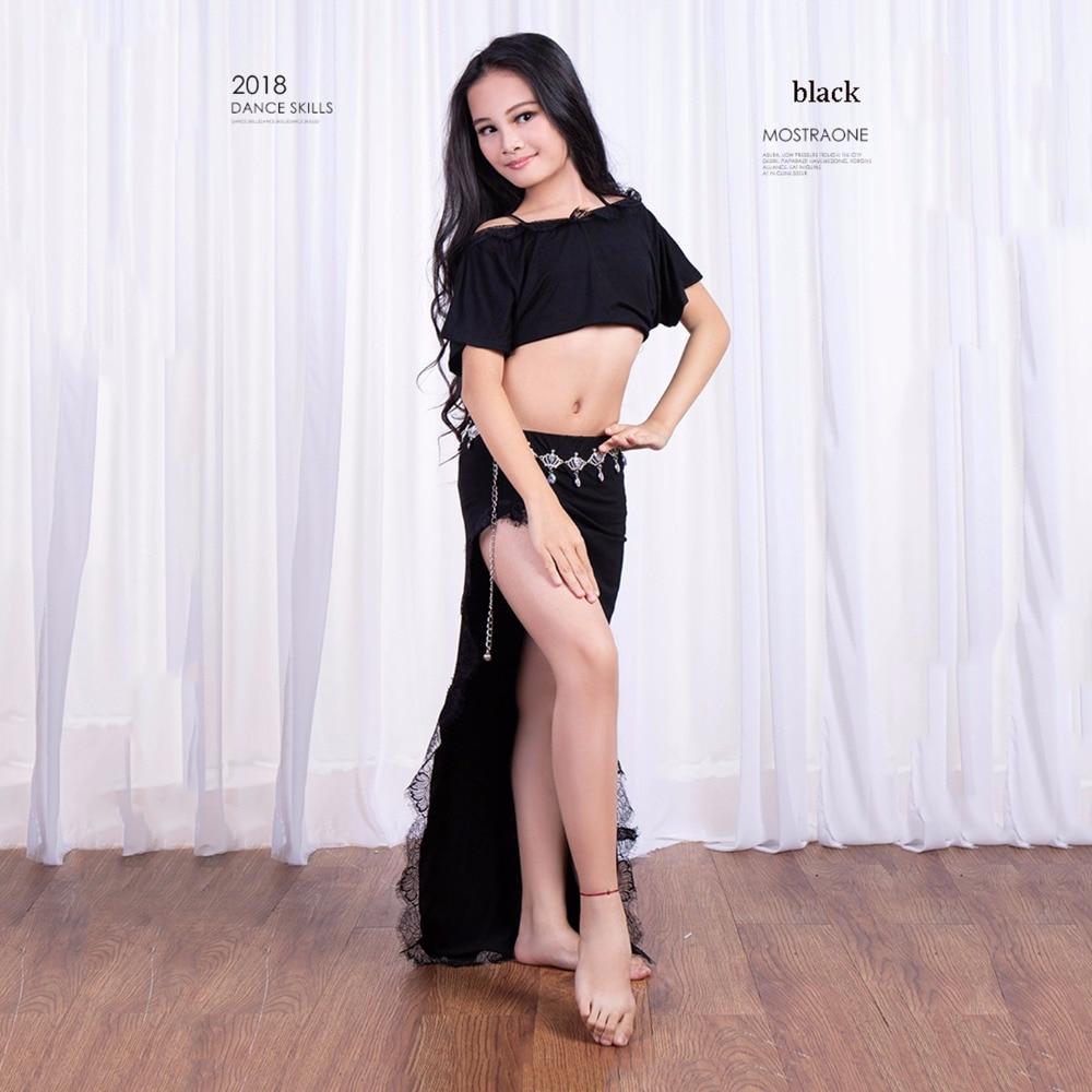Newest Kids Girls Belly Dance Costume Set Hot Sale Belly Dance Modal Top & Skirt 2pcs Dance Clothes Costumes