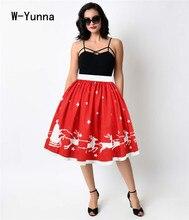 Christmas Red Midi Skirts Women Knee-Length Elegant Pleated Skirt Elastic Waist