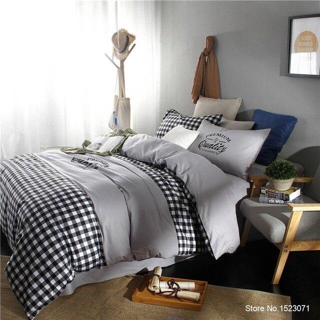 Белый and Черный Полосатый плед bedding костюм для мальчиков, футболка + штаны S Simple модный стиль постельное белье Pillow Case костюм для мальчиков, футболка + штаны король, Королева Размер