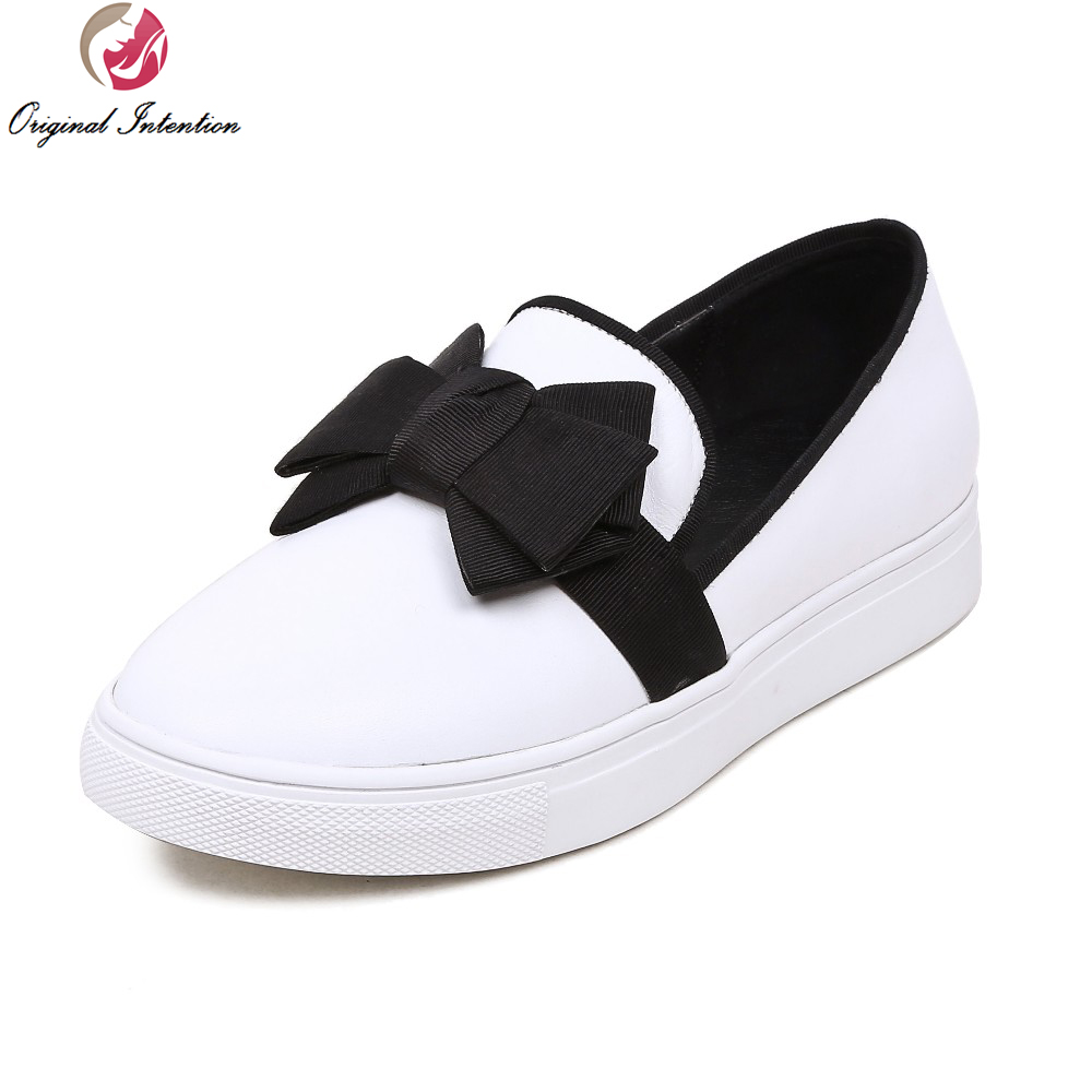 ФОТО Original Intention New Elegant Women Casual Shoes Round Toe Flat Beautiful White Woman US Size 4 10.5