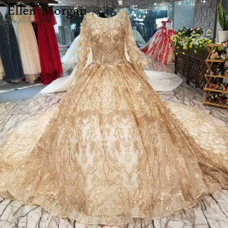 Beautiful Gold Wedding Dresses: Gold Lace Long Sleeves Wedding Dresses 2019 With Pattern