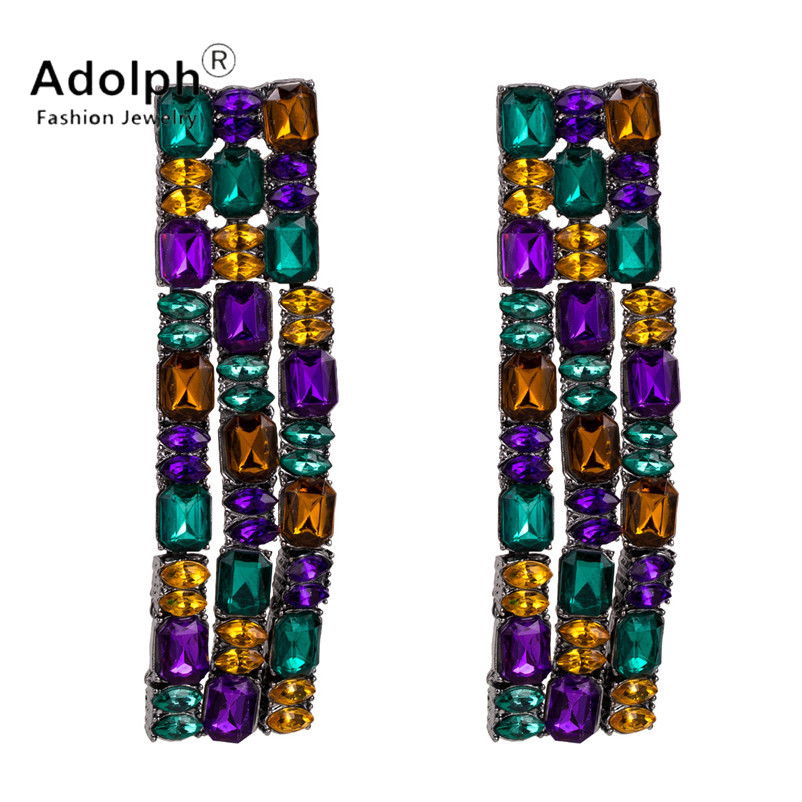 adolph fashon star jewelry cystal stud earrig for woman long square geometric tassel earrings stones accessories new extendy