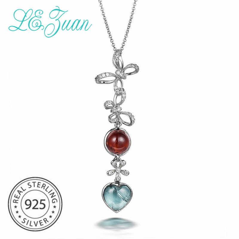 L&zuan Natural Tourmaline Heart Shaped Long Pendant for Women 925 Sterling Silver Necklace Round Red Gemstone Bowknot Jewelry