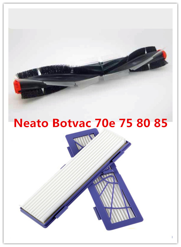 Replacement Neato Botvac 70e 75 80 85 Universal combination brush blade and brush + 2pcs filter hepa vacuum cleaner parts 4x silicone blades 4x brush 1x beater bearing replacement for neato botvac 70e 75 80 85 automatic vacuum cleaner robots