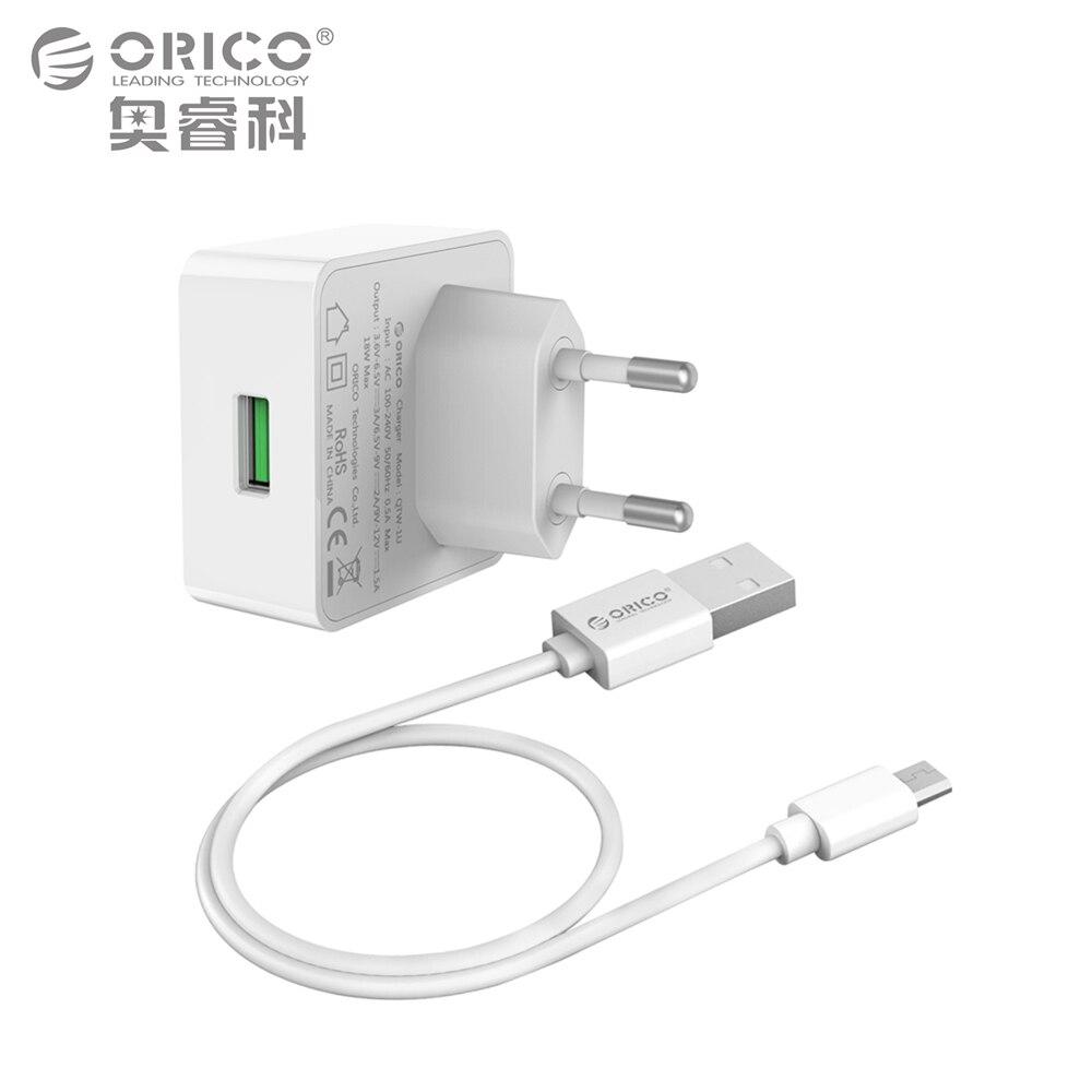 imágenes para ORICO Teléfono Cargador de Carga Rápida 3.0 18 W Rápido Cargador USB para el iphone Samsung Xiaomi Huawei con Conexión Micro USB Cable