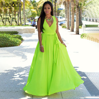 Nagodo High Quality Chiffon Dress Women 2019 New Summer Neon Dresses Sexy V neck Tank Sleeveless Ankle length Long Maxi Dress