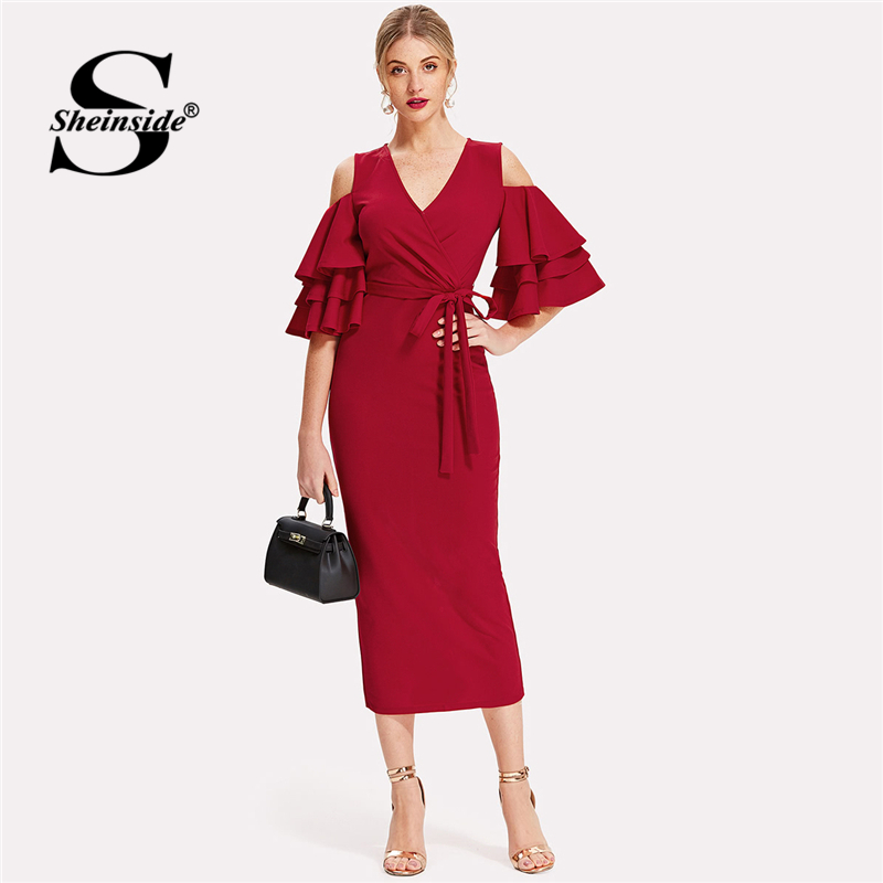 Sheinside Red Bodycon Dress Women V Neck Ruffle Sleeve Belt Back Split Pencil Dress 2018 Summer Elegant Party Dress