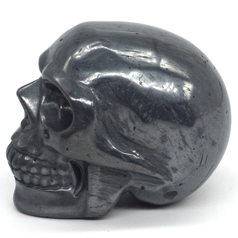 Skull Figurine Natural Stone Hematite Crystal Carved Statue Realistic Feng Shui Healing Ornament Art Collectible 2 quot in Statues amp Sculptures from Home amp Garden