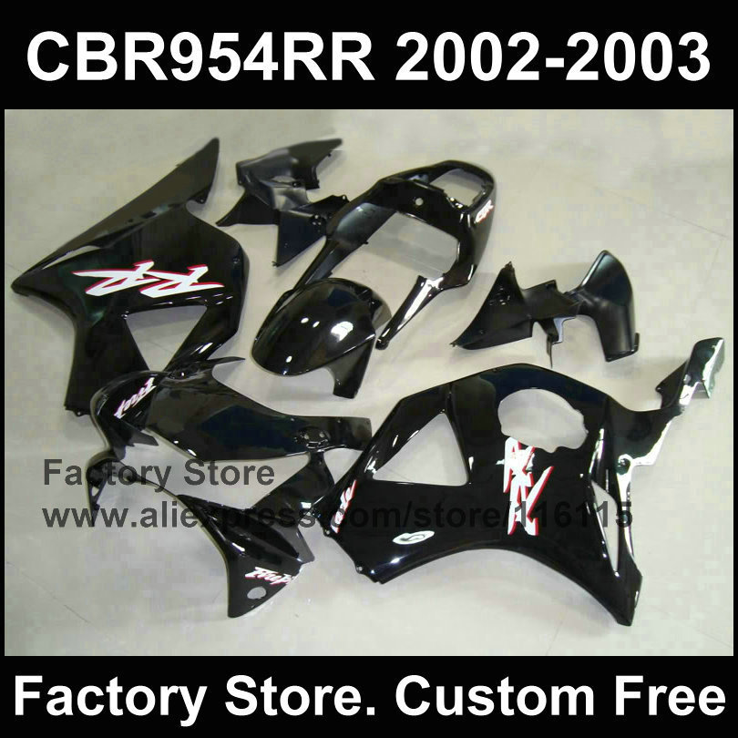 Glossy black motorcycle fairings for  CBR 900RR 2002 2003 fireblade fairings CBR 954 RR CBR 900RR 02 03  fairing parts