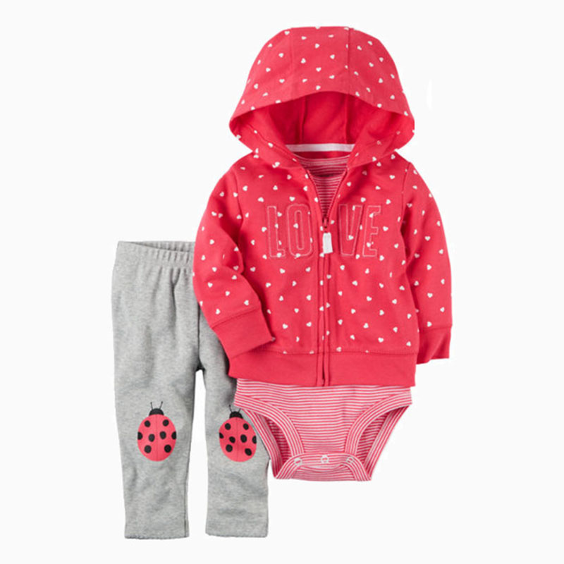 2017 new arrival Babysoft Cardigan Sets baby boy girls clothes set 3pcs long sleeve coat + full sleeve rompers + pants kids
