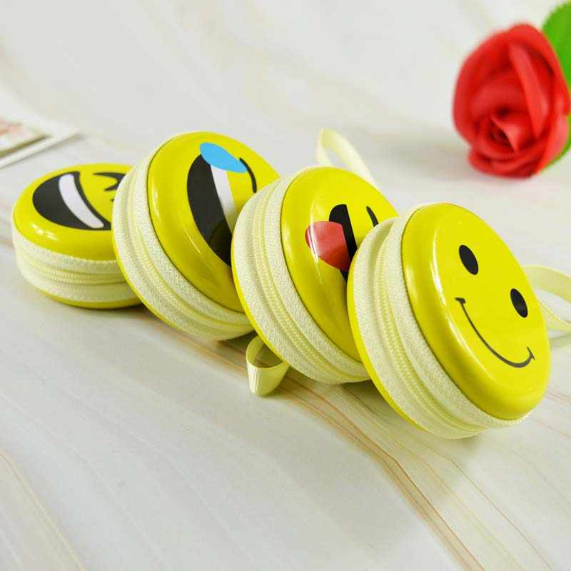Criativo de Folha De Flandres Rodada Saco de Armazenamento De Fone De Ouvido Bonito do Smiley Face bolsa de Moedas de Mini Chave USB Fone de ouvido Cabo Organizador Caixa
