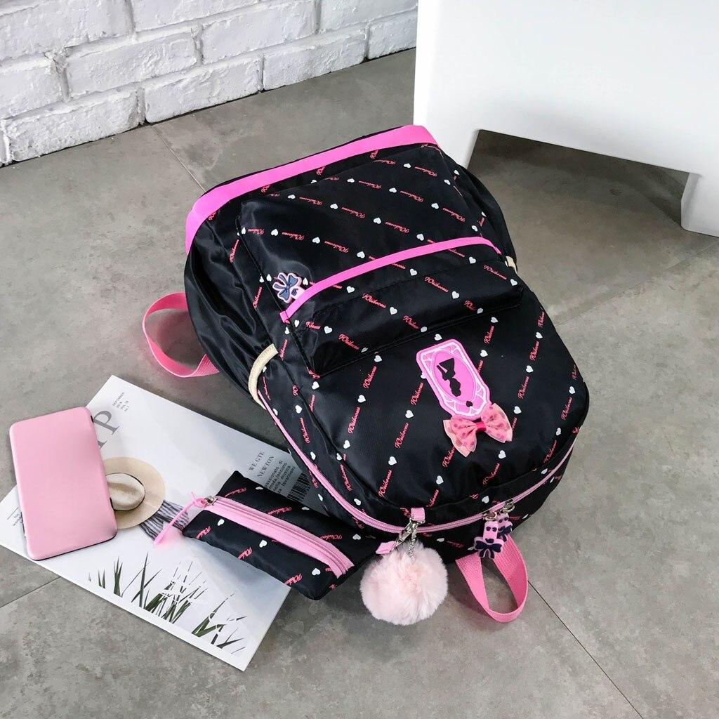 Women Bow Canvas Three-piece School Bag 22