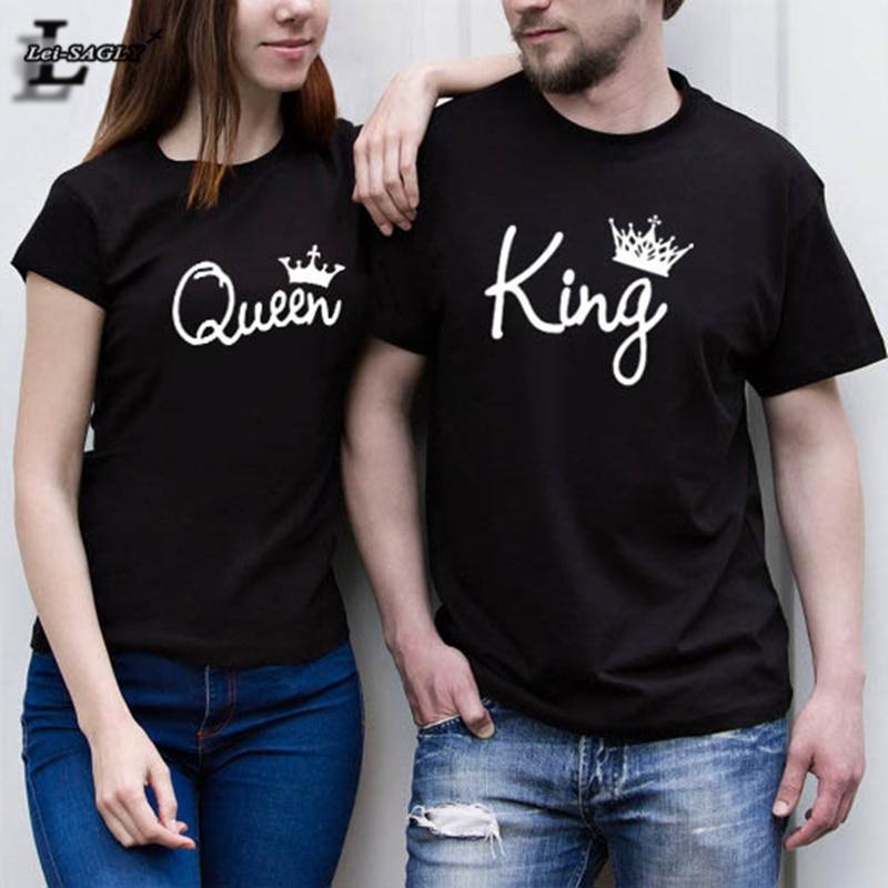 ולנטיין חולצות אישה כותנה המלך המלכה - בגדי נשים