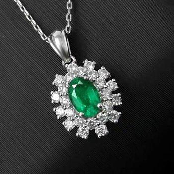 SHILOVEM 925 sterling silver real Natural Emerald Pendants classic fine Jewelry women wedding wholesale new 4*6mm jcz040608agml