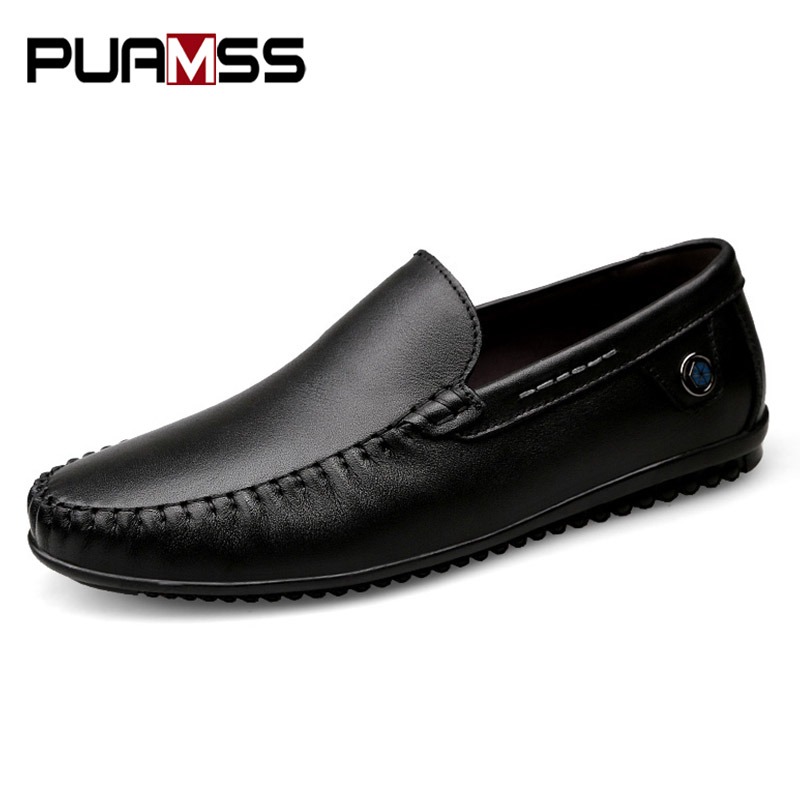 PUAMSS 2018 New Brand Men Casual Shoes Men Loafers Spring and Autumn Genuine Leather Business Shoes Men's Flats Formal Shoes benzelor men shoes 2017 spring autumn genuine leather business casual shoes quality brand massage sole black brown color hl67624