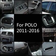 Черная Нержавеющая Сталь выход воздуха/переключатель окна хранения чашки/Радио Панель рамка для Volkswagen POLO 2011 12 1314 15 AA338