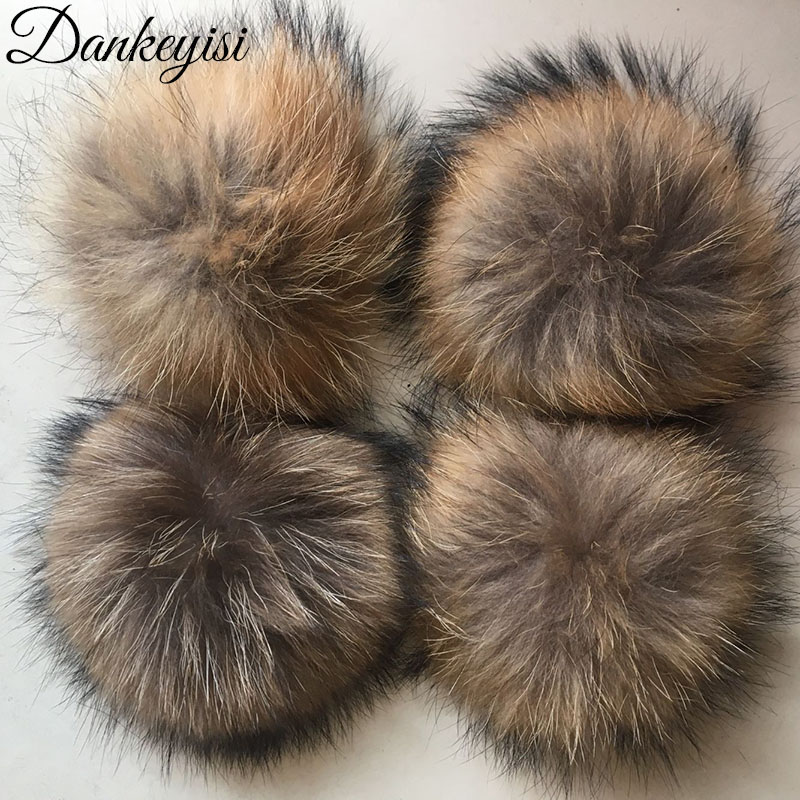 Wholesale 20pcs DIY 14/15/16cm Real Raccoon Fur Pompoms Fur Balls For Knitted Hat Cap Beanies Shoes And Scarf Real Fur Pom Poms