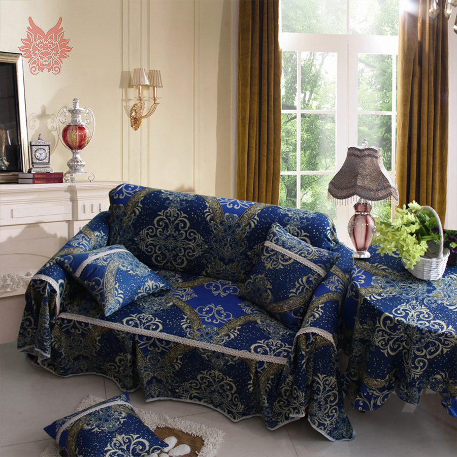classic style brown blue with floral print soft cloth sofa