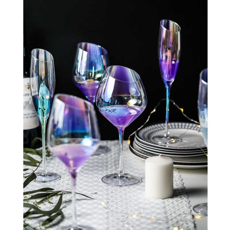 149663b8a96 Rainbow ion plated crystal glass wine Slanting glasses wineglass cup  champagne glasses Bar Hotel party home