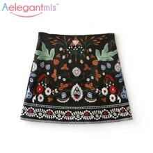 Весна A-Line Мини Этническая Женская Юбки короткая черная юбка с вышивкой Высокая Талия цветочные старинные Вышивка Юбки женский