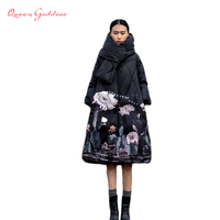 Winter Jackets Women 90% White Duck Down Print colourful Parkas with Hooded Coats Long Down Warm Casual Snow Outwear