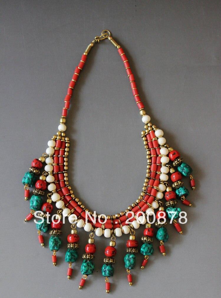 TNL512 Genuine Tibetan jewelry Tibet Artificial Coral Stone multi ...