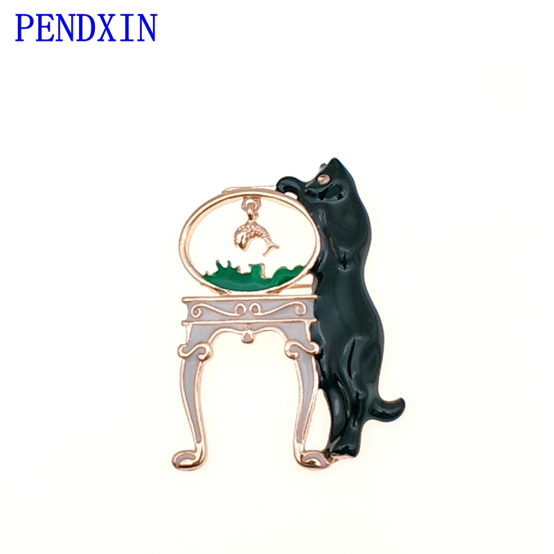 Black Cat Fish Tank Small Fish Personality Fashion Brooch Woman Kitten Brooch Clothing Accessories