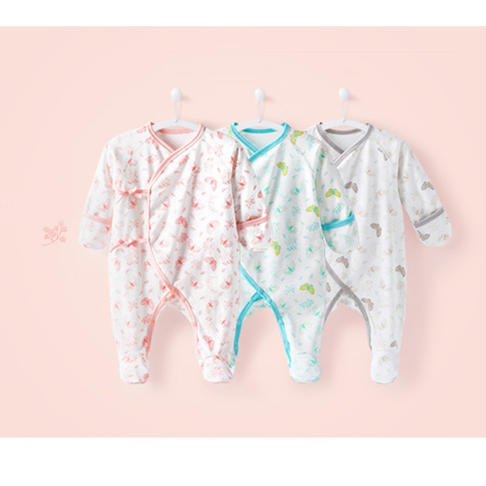 COBROO Newborn Baby Girl Clothes footies 0 3 Month 100 Cotton Butterfly 2018 Infant Girl Boy Jumpsuit Baby footies NY150072 in Footies from Mother Kids
