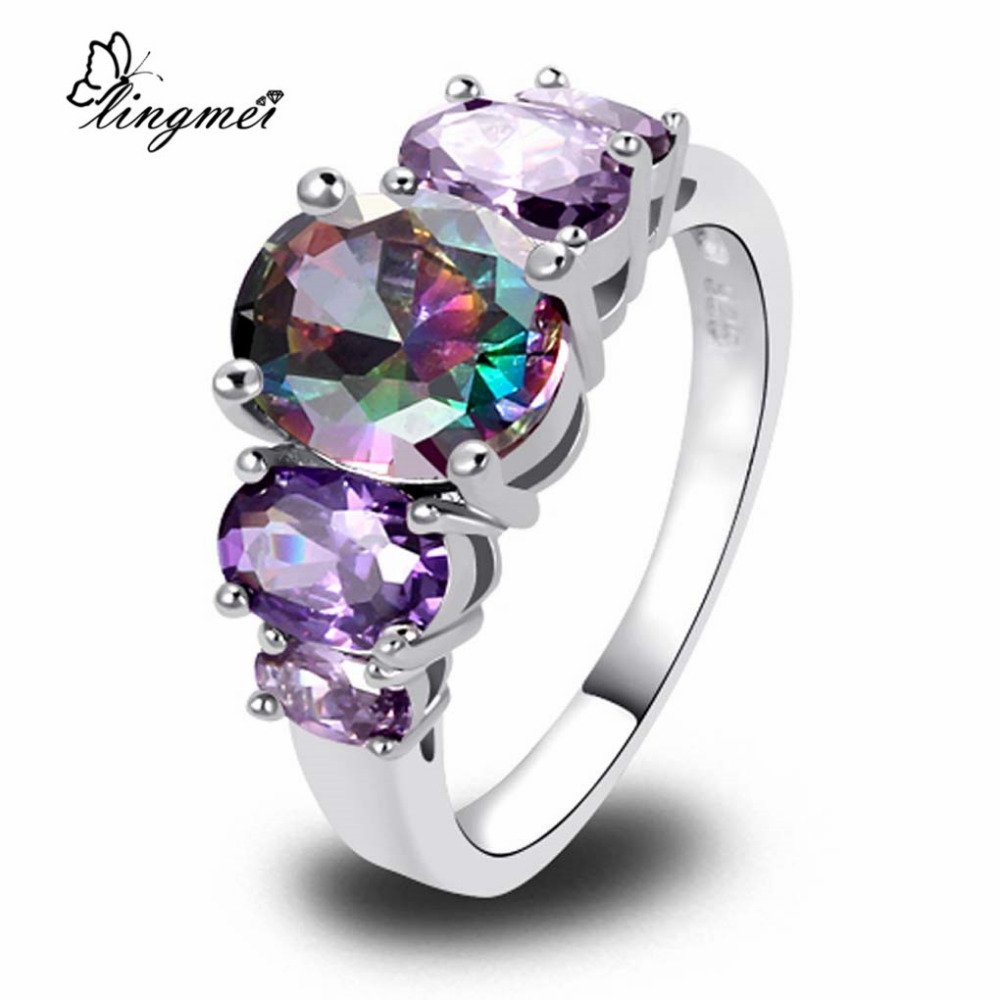 lingmei Exquisite Fashion Oval Cut Mystic Rainbow CZ Purple Silver Color Ring Size 6 7 8 9 10 11 12 13 Sparkling Women Jewelry