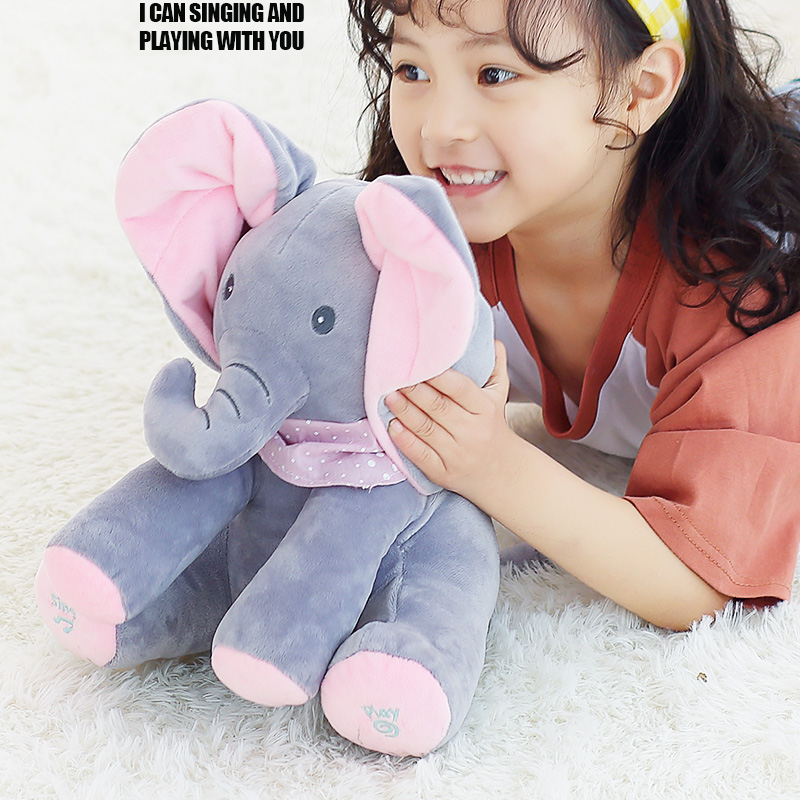 Elephant Play Hide Lovely Cartoon Stuffed singing Elephant Kids Birthday Gift 30cm music Elephant Plush Toy 40cm new lovely mickey mouse and minnie mouse plush toys stuffed cartoon figure dolls kids christmas birthday gift